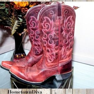 Ariat Distressed Red Leather Country Western Boots
